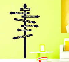 City Sign Post Around The World Home or Personalised Vinyl Wall Sticker Decal