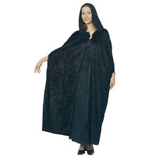 #MAGICIAN GOTHIC OR MEDIEVAL VELVET HOODED BLACK CLOAK FOR ADULT FANCY DRESS