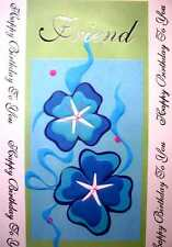 *Birthday Braille Added Greeting Card Friend Birthday Turquoise Flowers # BD070