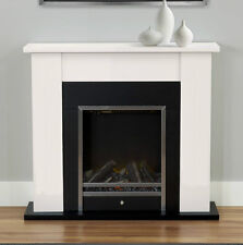 ELECTRIC CREAM SURROUND MODERN BLACK LOG INSET SILVER FIRE FIREPLACE CHEAP SUITE