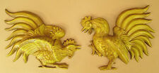 RETRO VTG HODA CAST METAL AVOCADO GR FIGHTING ROOSTER HEN KITCHEN WALL PLAQUES