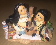 NATIVE AMERICAN Young Girls Preparing Food On Top Of A Rug. Ceramic Figurines