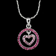 Heart Love Circle Necklace Pendant Charm Costume Jewel 18k GP Crystal Rose Pink