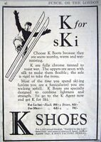 1925 'K SHOES' Ski Ski-ing Boots Print ADVERT - Small Original Vintage Ad