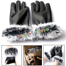 Hiver femme Lady gants de cuir noir Automne fiable chaud lapin fourrure mitaines