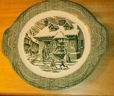 "CURRIER AND IVES ""THE OLD CURIOSITY SHOP ""  HANDLED PLATE GREEN"