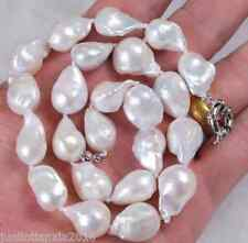 Real 13-18mm Natural South Baroque White Akoya Pearl Necklace 18""