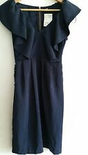 H&M Ladies' size 8 Dark Blue Cap Sleeve Dress with elasticated belt and back zip