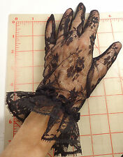 Black Lace Gloves With Ruffle