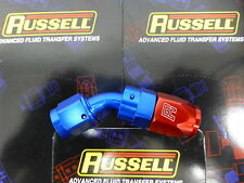 Russell 610090 Full Flow Swivel Hose End Fitting 45 degree AN6 -6 # 6AN Red Blue