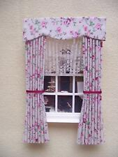 MINIATURE DOLLS HOUSE 12TH SCALE CURTAINS DRAPES PINK FLORAL 7 1/2 LONG & NETS