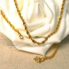 New Yellow Gold Filled Water Wave Solid Gold Filled Women's Chain Necklace 17''