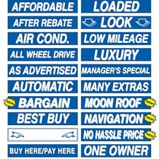 """Car Dealer Window Stickers Slogans Blue and White 20 packs 15"""" Mix and Match"""