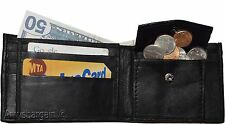 Men's Bifold Black Wallet Genuine Leather 6 Credit card Coin purse 2 Billfold BN