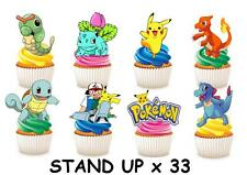 33 POKEMON STAND UP Edible Cupcake Fairy Cake Topper Edible Decorations