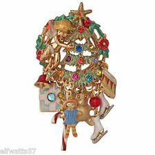 "Kirks Folly ""PIXIE'S PRESENT CHRISTMAS TREE"" Necklace or Pin (Goldtone)"