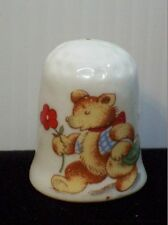 Teddy Bear Thimble Walking With Picnic Basket Flower Vintage Porcelain