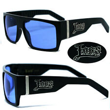 Locs Mens Cholo Biker Sunglasses -  Shiny Black Frame Blue Lens LC74