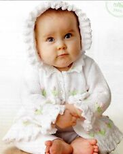 Sweet Rosebud Baby Cardigan and Frilly Hat Knitting Pattern