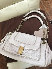 Bottega Veneta Ivory Woven Chain Top Handle Leather Bag New