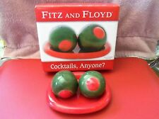 COCKTAILS, ANYONE?  OLIVES SALT & PEPPER SHAKERS w/ ORIG BOX~  FITZ & FLOYD