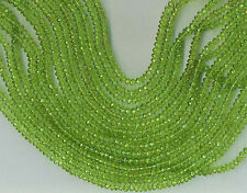 "14"" STRAND 3.5MM FACETED PERIDOT RONDELLE BEADS"