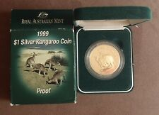1999 $1 1 oz. Silver Proof Kangaroo Coin with unique gold toning