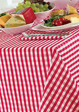 "GINGHAM CHECK CHERRY RED WHITE 69"" ROUND TABLE CLOTH COUNTRY LOOK POLYESTER"