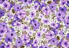 Vintage Purple Flower Print Cake Topper Edible Wafer Paper FULL A4 SHEET