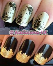 NAIL ART SET #389. GOLD/BLACK ROSES WATER TRANSFERS/DECALS/STICKERS & GOLD LEAF