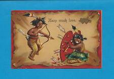 BRAVE, BOW & ARROW, TARGET On Colorful Vintage German-Made Valentine Postcard