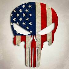 Punisher Skull Decal American Flag Sticker Car Truck USA Military 5.5""