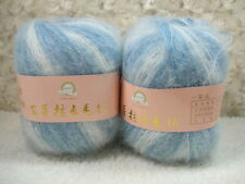 6*50g Skeins Luxury Angola Mohair Cashmere Wool Knitting Yarn Lot;blue white mix