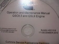 Cummins Diesel QSC8.3 QSL9 OPERATION & MAINTENANCE MANUAL 2010 CD-ROM Service