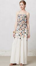 NEW $198 Anthropologie Elevenses Tupsa Pleated Floral Silk Jumpsuit Size 8