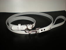 STRONG LEATHER MATCHING DOG COLLARS AND LEADS IN 7 DIFFERENT COLOURS