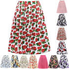 A-LINE Vintage Floral Retro 50s 60s High Waisted Pleated Skater Skirt