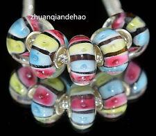 5pcs MURANO Lampwork charm Beads fit 925 silver European Bracelet Chain a1081