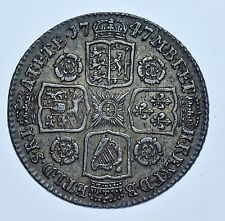 1747 SHILLING, BRITISH SILVER COIN FROM GEORGE II aEF