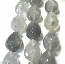 """Natural Gray Quartz 15x20mm Faceted Pear 10 Beads 7.5""""  Clear with Inclusions"""