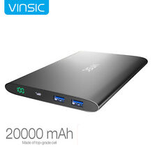 Vinsic Ultrathin 20000mAh External Battery Power Bank Pack Charger for iPhone 7