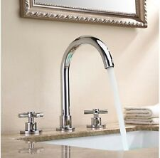 Cross Handle Solid Brass Widespread Bathroom Sink Faucet Chrome Finish Mixer Tap