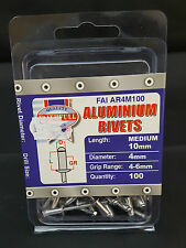 FREEPOST Aluminium Rivets 4mm x 10mm Medium Pre-Pack of 100 Uk Seller