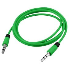Green 60cm 3.5mm Mini Stereo Jack to Jack Aux Cable Audio Auxiliary Lead PC Car