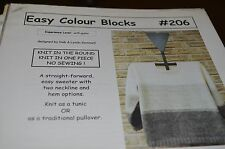 Cabin Fever Knitting Pattern 206 Easy Colour Blocks Sweater KNit in Round
