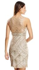 SUE WONG Champagne Silver Beaded Sequin Wedding Bridal Cocktail Evening Dress 14