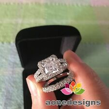 14K White Gold Princess Bridal Wedding 1.25 Ct Diamond Engagement Band Ring Set