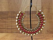 New Indian Ethnic Gold Plated Pearl Moti Ruby Cyrstal Jhumki Chand Bali Earring