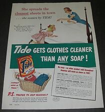 Print Ad 1951 Laundry SOAP Tide Art Mother making bed with girl heping