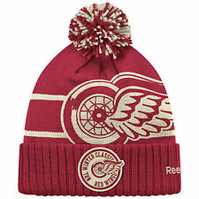 DETROIT RED WINGS 2014 NHL WINTER CLASSIC REEBOK CUFFED GOALIE POM KNIT HAT